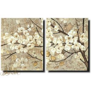 絵画 壁掛け 風景 花 モダン アートパネル インテリア 和 日本画 手書きの油彩画 2枚セット 枝の白い花|yusaigashop-art|04