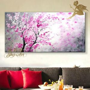 絵画 壁掛け 風景 花 モダン アートパネル インテリア 和 日本画 手書きの油彩画 1パネル 花びら舞う