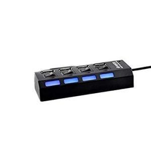 USB2.0 スイッチハブ 4ポートポートコンセント型 最大500mA PC ブラック ._|yusyo-shopping