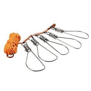 4.5mロープ付き ステンレス ストリンガーセット フック フィッシュグリップ 釣具 ._