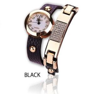 ブレスレットタイプ レディース腕時計 《ブラック》 二連 ブレスレット おしゃれ 時計 .|yusyo-shopping