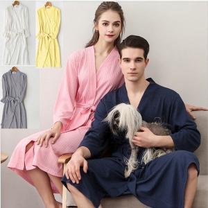 レディース バスローブ 半袖 夏用 薄手 ホテル メンズ ワッフル バスローブ 男女兼用 ナイトガウン メンズ バスローブ メンズ タオル地 バスローブ|yutaka-s