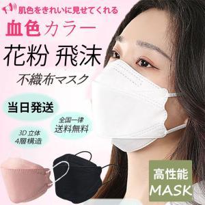 当日発送 KF94 不織布マスク 50枚 韓国 マスク 血色カラー クリップ付 KF94マスク 4層...