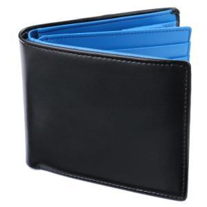 [Legare(レガーレ)] 二つ折り財布 カード15枚収納 BOX型小銭入れ レザー メンズ ブラック×ブルー yutakanaseikatu