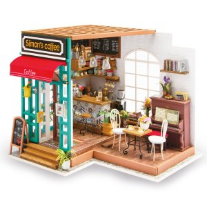 Robotime DIYドールハウス 3Dパズル 喫茶店 LED付属 DG109 少女 誕生 バレンタインデー プレゼント-喫茶店|yutakanaseikatu