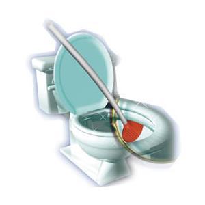 特殊な形状をした軟質エラストマー樹脂と、その表面につけた波状の凹凸で、 トイレ便器内をキレイにする画...