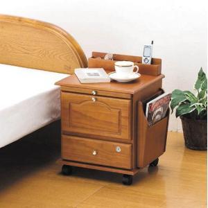 天然木ベッドサイドテーブル 鍵付き  楽天ランキング1位獲得|yutoriplan