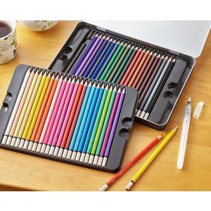 水彩色えんぴつ 48色 水彩画タッチ用の筆付 yutoriplan