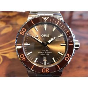 オリス 腕時計 アクイス デイト 73377304152M メタルブレスレット ブラウンゴールド文字...