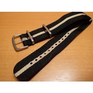 トレーサー Traser 腕時計 純正 NATOストラップ バンド ベルト バネ棒つき BLACK SAND ブラック/ベージュ(正規輸入品)22mm|yuubido-oyabu