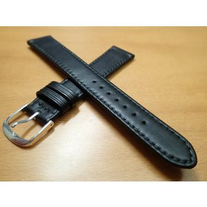 16mm 〜 20mm 時計バンド (腕時計) ベルト カーフ 牛革 ブラック (黒) バネ棒 サービス 腕時計用 時計ベルト 時計用バンド|yuubido-oyabu