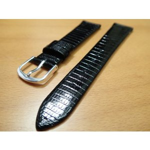 16mm〜 20mm 時計バンド (腕時計) ベルト トカゲ (リザード) 黒 (ブラック) バネ棒 サービス 腕時計用 時計ベルト 時計用バンド|yuubido-oyabu
