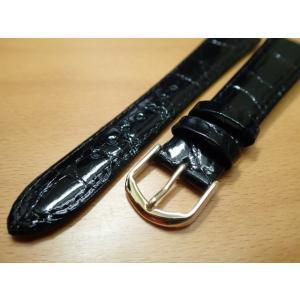 16mm〜 20mm 時計バンド (腕時計) ベルト ワニ (カイマン) 黒 (ブラック) バネ棒 サービス 腕時計用 時計ベルト 時計用バンド|yuubido-oyabu