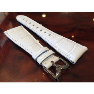 ガガミラノ GaGa MILANO 日本正規品 純正 時計バンド ベルト 48mm メンズ用 レザーベルト ホワイト|yuubido-oyabu