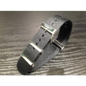ティソ TISSOT Quickstar クイックスター 腕時計用 純正 引き通し NATO STRAP ナトー ストラップ ベルト バンド 黒色 (ブラック) 19mm|yuubido-oyabu