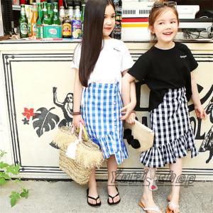 4c8ee0c846e36 子供服 親子ペア ペアルック キッズ 女の子 韓国子供服 ママと娘 半袖Tシャツ チェック柄 スカート マーメイドライン レディーススカート 薄手 夏