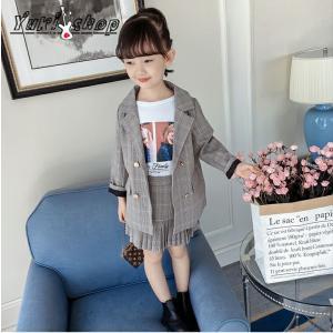 子供フォーマル スーツ 女の子  セットアップチェック柄 ジャケットスカート おしゃれ カジュアル 入学式 入園式  キッズ 2点セット|yuuki-store