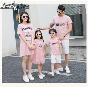 3402a296bd6fd 親子ペア ペアルック お揃い 男の子女の子 子供服 ママと娘 パパ 息子 ワンピース キッズ カジュアル 半袖 Tシャツ 猫キャラクタ