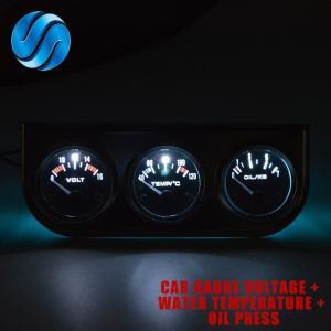 全国送料無料 ドラゴンゲージ車ゲージ電圧+水温+オイルプレスゲージクロームホルダー車メーター3で1キットトリプルダッシュボード yuuuuuu26