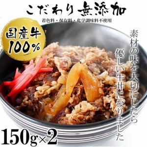 肉 牛肉 惣菜 レトルト 冷凍 無添加 国産牛 100% 牛丼の具 150g×2パック 牛丼 お弁当 おかず グルメ お試し|yuuzen-hb