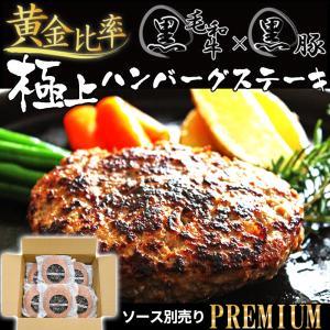 お中元 2021 ハンバーグ ギフト 肉 冷凍 無添加 黒毛和牛 黒豚 極上ハンバーグステーキ 140g × 6個 yuuzen-hb