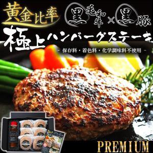 お中元 ギフト ハンバーグ 黒毛和牛 × 黒豚 の 黄金比率 無添加 極上 ハンバーグ ステーキ 無添加 140g × 6個 専用ソースセット 冷凍|yuuzen-hb