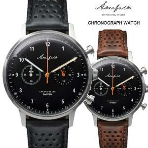 Åkerfalk オーカーフォーク クロノグラフ腕時計 ブラック 12H/24H表示時計 スウェーデン 60'sヴィンテージデザイン アナログ ウォッチ|yuyu-honpo