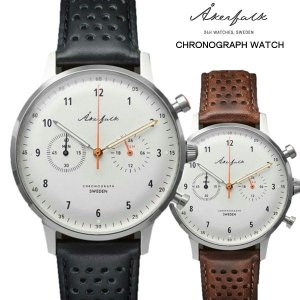 Åkerfalk オーカーフォーク クロノグラフ腕時計  ホワイト 12H/24H表示時計 スウェーデン 60'sヴィンテージデザイン アナログ ウォッチ|yuyu-honpo