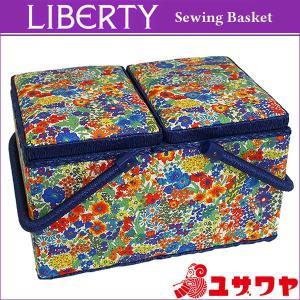 ○LIBERTYリバティプリント ソーイングバスケット(Margaret Annie×ネイビー)/SO-3631165-LAE [ソーイングボックス/裁縫箱] yuzawaya