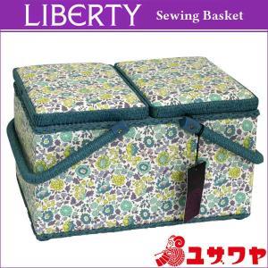 ○LIBERTYリバティプリント ソーイングバスケット(Danjo×ブルー)/SO-3632265-ZE [ソーイングボックス/裁縫箱] yuzawaya
