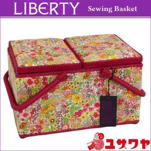 ○LIBERTYリバティプリント ソーイングバスケット(Margaret Annie×レッド)/SO-3631165-BE [ソーイングボックス/裁縫箱] yuzawaya