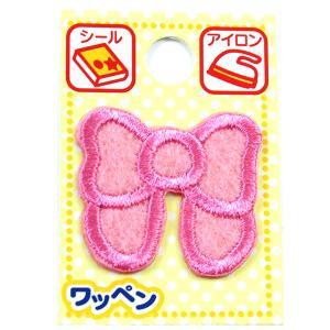 『ワッペンピンク濁点、記号、モチーフ』ひらがな 刺繍 ピンク リボン