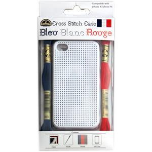 ★DMCステッチケース Bleu Blanc Rouge for iPhone4/4s ビッグホール(白)/iP011-2L-BLANC|yuzawaya