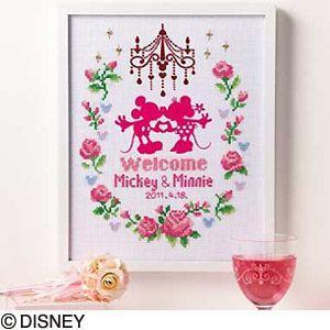 ★ディズニー クロスステッチ刺繍キット オリムパス フラワーコレクション ウェルカムボード(ピンク)/7372 [刺しゅうキット/初心者] yuzawaya