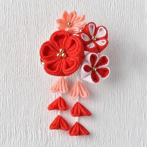 タカギ 彩花ブローチ 赤色 LH-411 [アクセサリー ブローチ 京ちりめん つまみ細工 和手芸 和調手芸]|yuzawaya