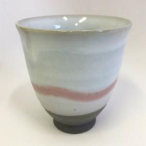 萩焼湯呑 茶彩「白萩炭化」 大和猛作|ywebg