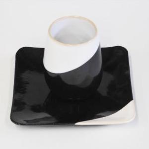 萩焼 コーヒーカップ フリーカップ&ソーサーセット「白/黒掛分」TYPE1 ywebg