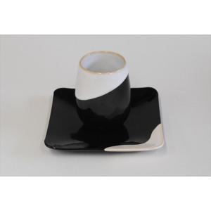 フリーカップ&ソーサーセット「白/黒掛分」TYPE2 ywebg