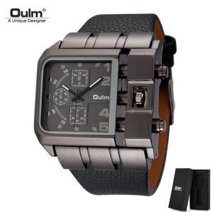 腕時計 メンズ Oulm 海外ブランド クオーツ HP3364 スチームパンク レトロ レザーバンド...