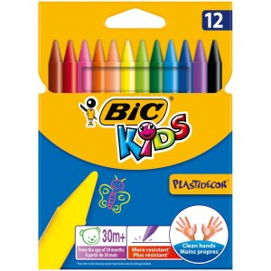 BiC Kids Plastidecor Colouring Crayons (Pack of 12)|yyyr1206