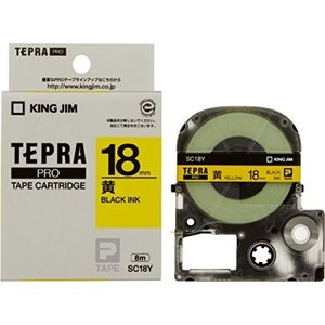 キングジム テープカートリッジ テプラPRO 18mm SC18Y 黄|yyyr1206