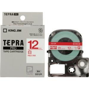 キングジム テープカートリッジ テプラPRO 12mm SS12R 白 赤文字|yyyr1206