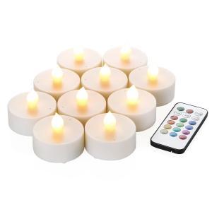 WY 12色LEDティーライトキャンドル[10個セット]リモコン付 4h/8hタイマー機能 照明モード切替 WY-LEDSET004-10|yyyr1206