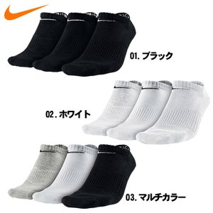 ナイキ NIKE 3P コットン クッション ノーショウ ソックス + モイスチャー 靴下 メンズ レディース