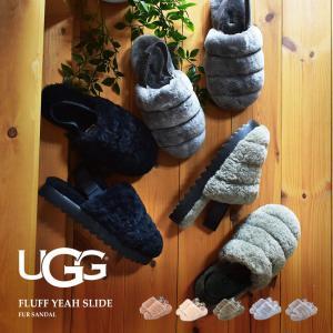 UGG アグ サンダル レディース フラッフ イヤー スライド 1095119 女性 もこもこ ファー 黒 グレー 靴 ブランド|z-mall