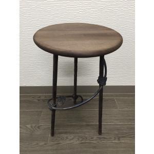 アイアン サイドテーブル サイドボード チェア風 (背もたれ無し)丸型|zacc