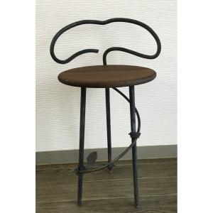 アイアン  サイドテーブル サイドボード チェア風 (背もたれ有り)丸型|zacc