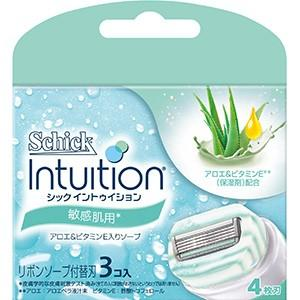 シックジャパン イントゥイション 替刃 敏感肌用 3個入りはボディソープなしで剃れ、スイングヘッドの...