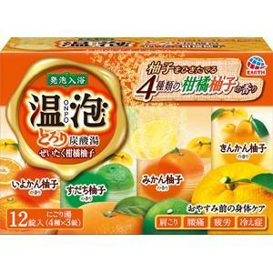 アース製薬 温泡 とろり炭酸湯 ぜいたく柑橘柚子 45g×12錠(4種×3錠) zaccaya