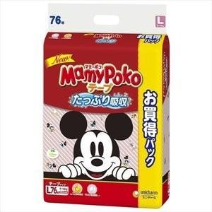 【在庫処分】ユニチャーム マミーポコ(テープ) Lサイズ76枚 |zaccaya